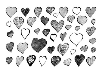 Set of hand drawn ink hearts - black, outline and with texture. Collection of romantic, love, wedding, valentine's day symbol, sign, doodle, element for decoration in rough grungy style.