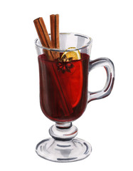 Hand drawn glass with mulled wine