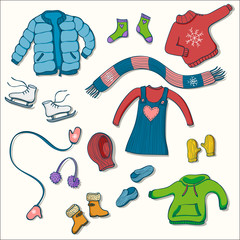Winter clothing set of vector illustrations. Collection of warm clothes