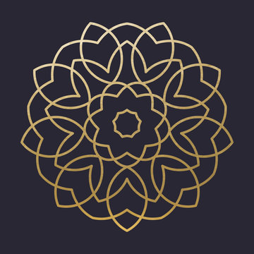 Luxury Golden Mandala Shape. Vector Mandala. Decoration Ornament. Floral Flower. Oriental.
