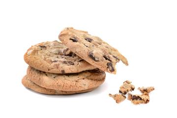 One bite of three chocolate chip cookies