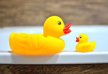 Concept of muther and baby. Children's rubber ducky in the bathtub for baby bathing.