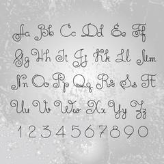Vector hand drawn alphabet. Lines font design.