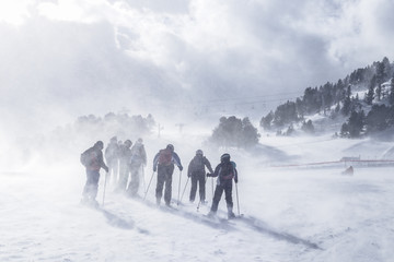 Group of mountain skiers during strong wind and a bizzard
