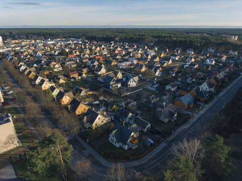 Aerial view over small suburban houses in Druskininkai city, Lithuania.