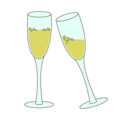 two tall glasses of sparkling wine champagne bubbly - concept of new year eve toast or celebration, simple vector illustration