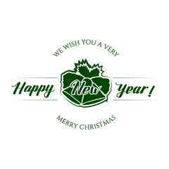 Badge Happy New Year with Hand Drawn Lettering and Bells Icon Isolated on White Background. Green Logo Emblem Vector Illustration for Web Graphic Design or Print, Logotype, Brand, Symbol.
