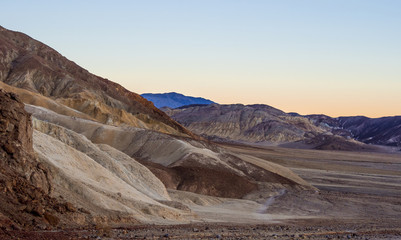 Death valley National Park after sunset - beautiful view in the evening