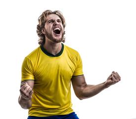 Male athlete / fan in yellow uniform celebrating on white background