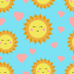 Cute seamless pattern with suns and hearts. Perfect for kids. Vector illustration.