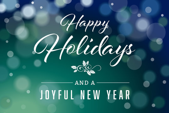 Dark Green Happy Holidays and Joyful New Year Horizontal Vector 2