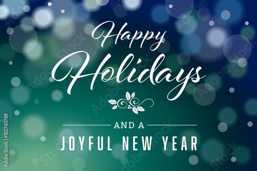"""Dark Green Happy Holidays and Joyful New Year Horizontal ..."