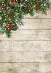 Christmas evergreen branches and holly on wood background