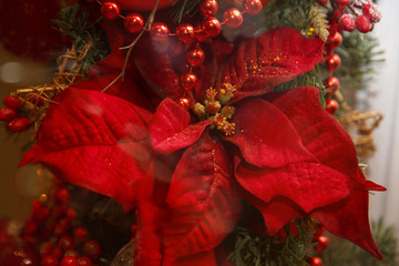 Christmas blurred background in red and gold with beautiful bokeh and lights