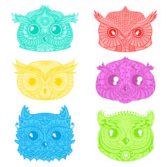 Owls. Heads. Design Zentangle. Hand drawn owl with abstract patterns on isolation background. Design for spiritual relaxation for adults. Outline for tattoo, printing on t-shirts, posters