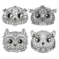 Owls. Heads. Design Zentangle. Hand drawn owl with abstract patterns on isolation background. Design for spiritual relaxation for adults. Outline for tattoo, printing on t-shirts, posters and other