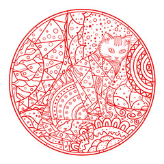 Cat. Mandala. Hand drawn animal with abstract patterns on isolation background. Design for spiritual relaxation for adults. Outline for t-shirts. Print for polygraphy, posters and textiles. Zen art