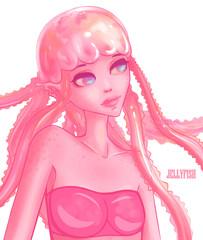 Cute jellyfish girl. Fantasy sea character. Printing on t-shirts, posters