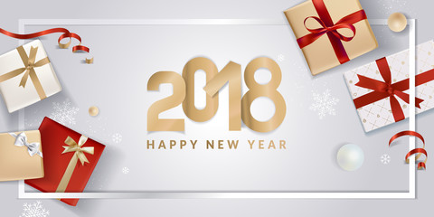 New Year greeting card. Vector illustration concept for greeting cards, website and mobile banners, marketing material.