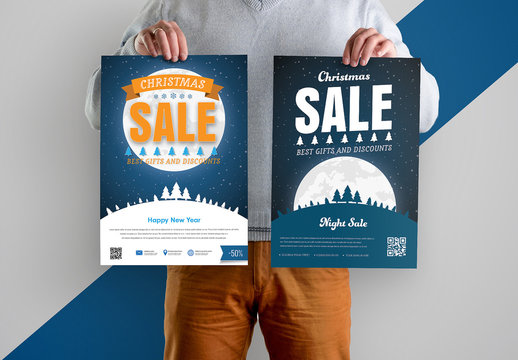 Christmas Sale Flyers with Full Moon Element