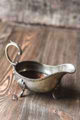 Maple syrup in vintage sauce boat