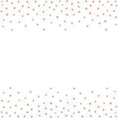 Rose gold glitter beautiful fashion background polka dot vector illustration. Pink golden dots confetti frame.