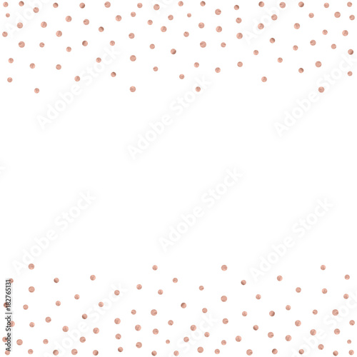 Rose Gold Glitter Beautiful Fashion Background Polka Dot Vector Illustration Pink Golden Dots Confetti Frame