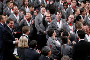 Special Olympics athletes react while being recognized in the House of Commons on Parliament Hill in Ottawa, Ontario, Canada