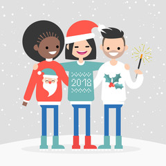 A group of multiracial friends celebrating the winter holidays. New year and Christmas. Seasonal celebration. Clip art, flat vector.
