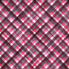 Pink and gray diagonal plaid seamless pattern