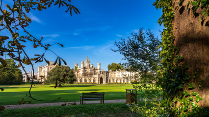 Cambridge,UK; 20 August 2017; Trinity College Great Court. Picture with leafs on the foreground.