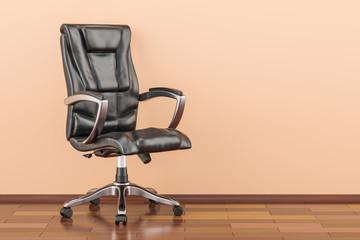 Black office chair in room on the wooden floor, 3D rendering