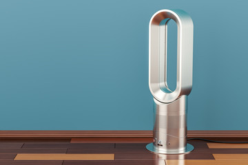 Bladeless air fan on the floor, 3D rendering