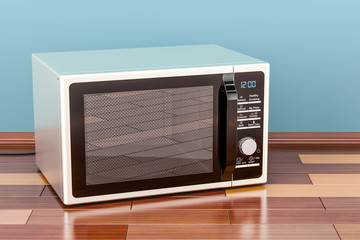 Microwave in room on the wooden floor, 3D rendering
