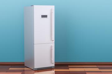 Modern fridge in room on the wooden floor, 3D rendering