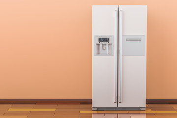 Modern fridge with side-by-side door system in the room, 3D rendering