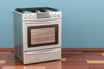 Steel gas cooker with oven in room on the wooden floor, 3D rendering