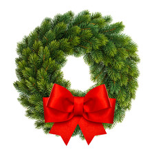 Christmas decoration wreath red ribbon bow isolated white