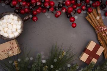 Christmas Themed Background on Slate Chalkboard