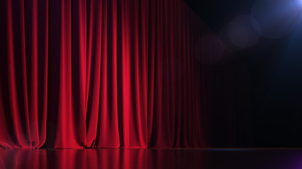 Dark empty stage with rich red curtain. 3d render