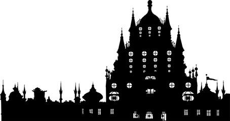 ロシア風の城のシルエット