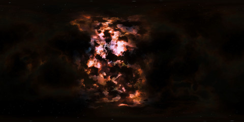 Deep space, stars and nebula, 360 degrees panorama, HDRI high resolution environment map