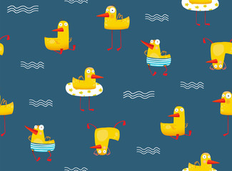Funny cartoon tileable seamless backdrop illustration. Vector illustration.