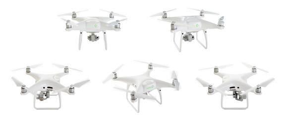 Unmanned Aircraft System (UAV) Quadcopter Drones Set 1 of 2 Isolated on White.