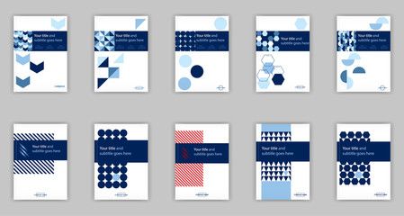 Blue set of 10 A4 Business Book Cover Design Templates. Good for Portfolio, Brochure, Annual Report, Flyer, Magazine, Academic Journal, Website, Poster, Monograph