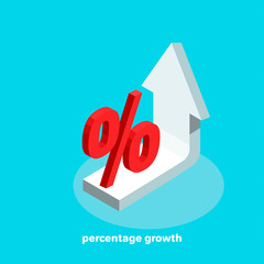 white arrow tending up and a percentage icon, financial growth, isometric image