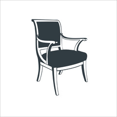 Modern wood chair icon. Vector illustration