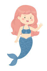 Cute Mermaid Girl princess blue vector illustration cartoon character design isolated on white background.