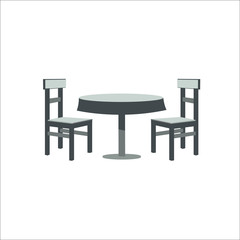 Table and chairs icon. Vector illustration