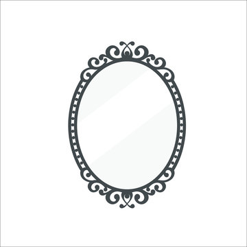Vintage mirror icon. Vector illustration